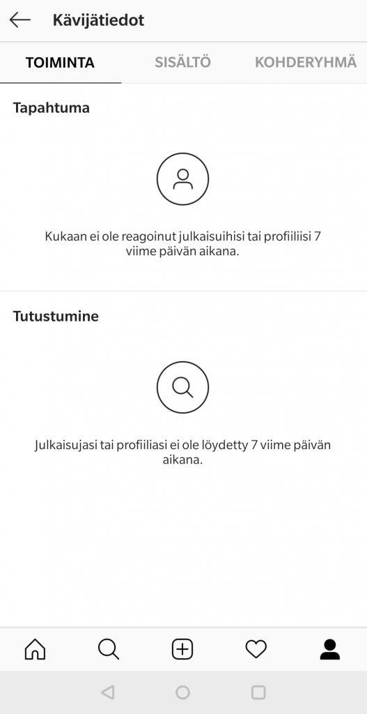 Instagram-yritystilillä voit seurata profiilisi kävijätietoja, toimintaa ja kohderyhmiä.