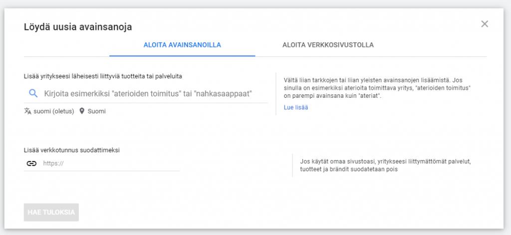 Google avainsanojen suunnittelijan näkymä.